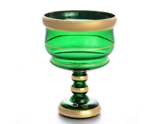 Конфетница 13 см Star Crystal Отводка золото зеленая