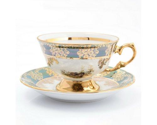 Набор чайных пар 220 мл Охота зеленая Корона Queens Crown