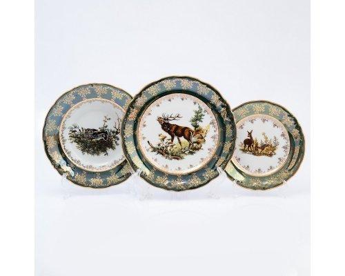 Набор тарелок 18 предметов Охота зеленая Корона