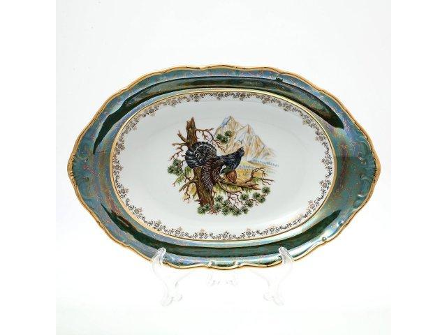 Блюдо для хлеба 36 см Охота Зеленая Sterne porcelan