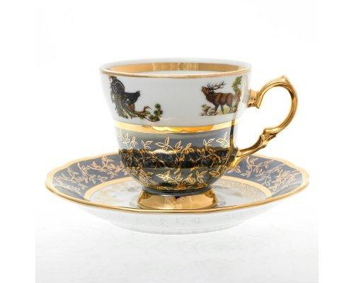 Набор кофейнных пар 140 мл Охота Зеленая Sterne porcelan (6 пар)