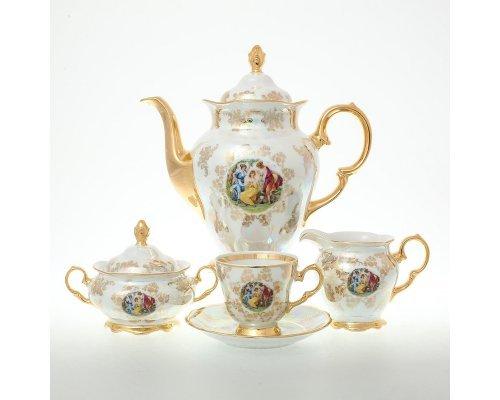 Кофейный сервиз на 6 персон 17 предметов Мадонна Перламутр Sterne porcelan