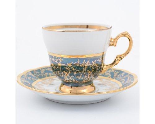 Набор кофейных пар 140 мл Зеленый лист Sterne porcelan (6 пар)