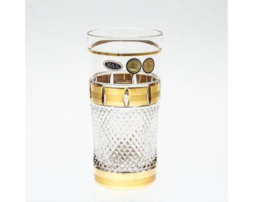 Набор высоких стаканов для воды 350 мл Max Crystal Золотые окошки 6 штук