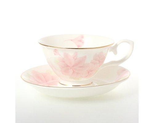 Набор чайных на 6 персон Розовые цветы Royal (Роял) (6 пар)