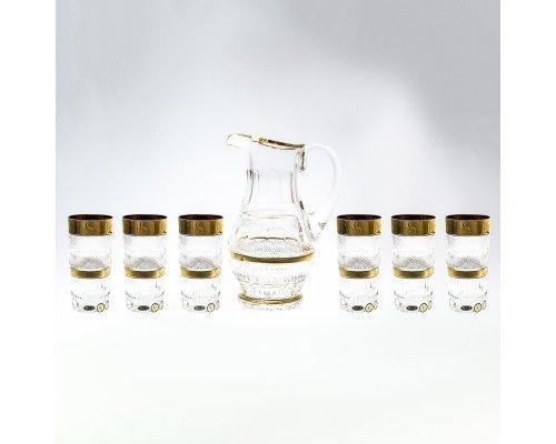 Набор для воды 7 предметов хрусталь с золотом Max Crystal Фелиция