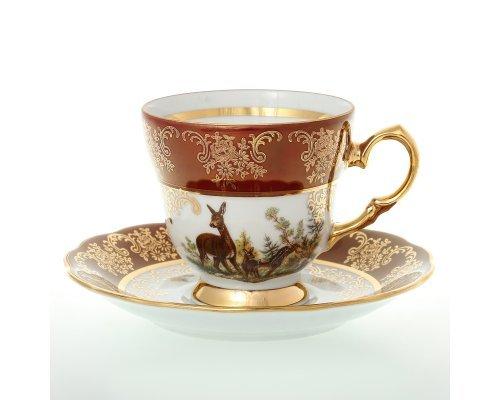 Набор кофейных пар 140 мл на Охота красная Корона (6 пар)