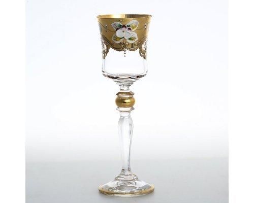 "Набор рюмок для водки ""Лепка прозрачная"" E-V золотая ножка"
