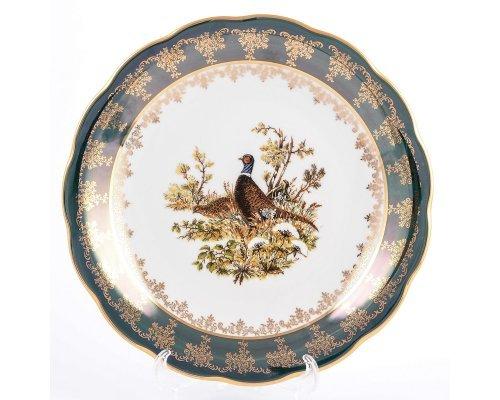 Блюдо круглое 30 см Охота зеленая Корона