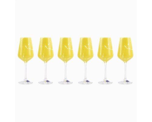 Набор бокалов для вина 250 мл 6 шт Sandra Crystalex желтый