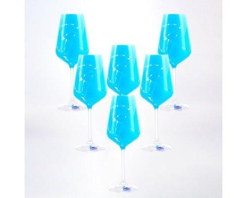 Набор бокалов для вина 250 мл 6 шт Sandra голубые