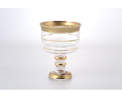 Конфетница 13 см высокая с золотым декором Star Crystal