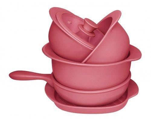 Набор посуды для приготовления розовый Oxford 5 предметов (3 кастрюли, 1 сотейник, 1 сковорода гриль)
