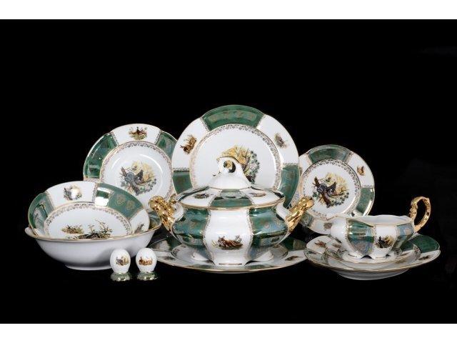Столовый сервиз на 6 персон 28 предметов Охота Зеленая Барокко Royal Czech Porcelain