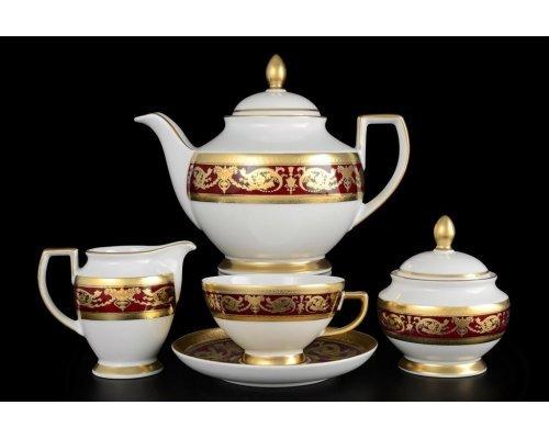 Чайный сервиз на 6 персон 17 предметов Falkenporzellan Imperial Bordeaux Gold