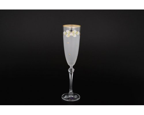 Набор белых матовых фужеров для шампанского 200 мл 6 штук Богемия Кристал (Bohemia Crystal)