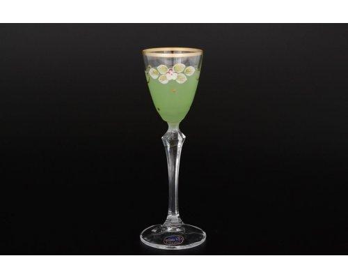 Набор матовых зеленых рюмок для водки 70 мл 6 штук Богемия Кристал (Bohemia Crystal)
