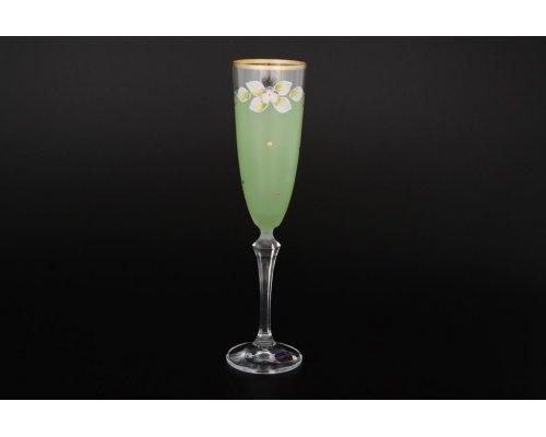 Набор матовых зеленых фужеров для шампанского 200 мл 6 штук Богемия Кристал (Bohemia Crystal)