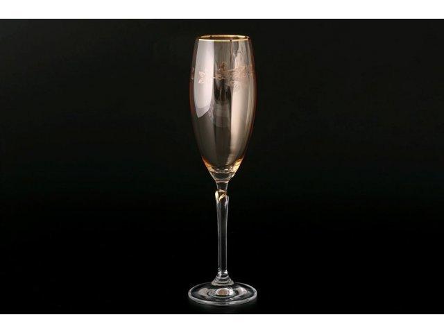 Набор фужеров для шампанского 220 мл Lilly Богемия Кристал (Bohemia Crystal) желтые (6 шт)