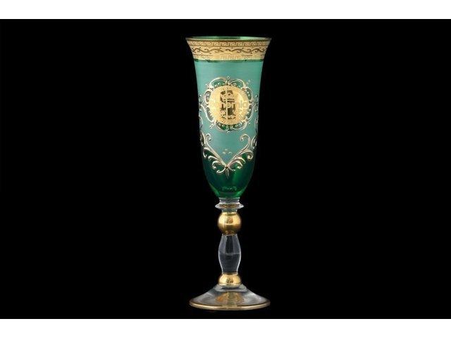 Набор фужеров для шампанского зеленая Грация Версачи B-G Bohemia (Богемия) (6 шт)