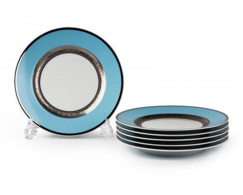 Tunisie Porcelaine Mimosa Monaco Bleu Turquoise 1626 набор тарелок 22см. на 6 персон