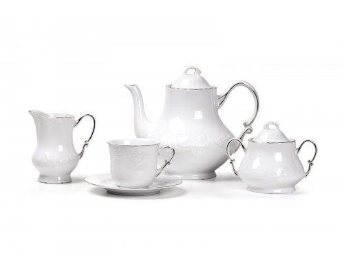 Tunisie Porcelaine Vendange Filet Platine Сервиз чайный 15 предметов на 6 персон