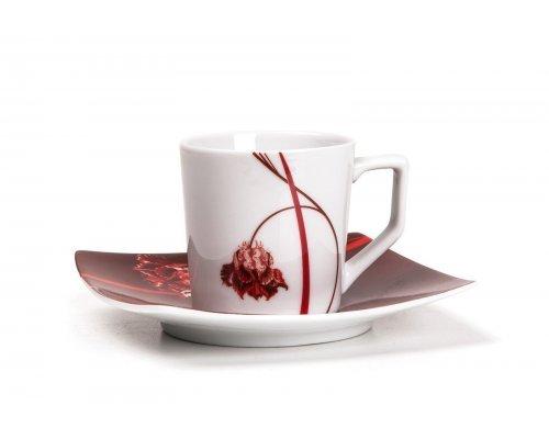 Tunisie Porcelaine Kyoto Noblesse Roug 0753 Набор кофейных пар на 6 персон 12 предметов