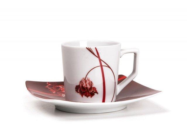 Набор кофейных пар Kyoto Noblesse Roug 0753 Tunisie Porcelaine 110 мл на 6 персон 12 предметов