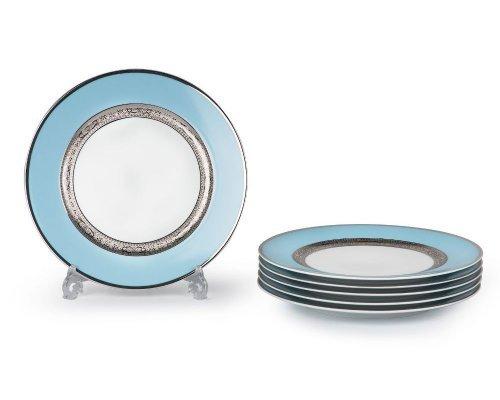 Tunisie Porcelaine Mimosa Monaco Bleu Turquoise 1626 набор тарелок 27 см. на 6 персон