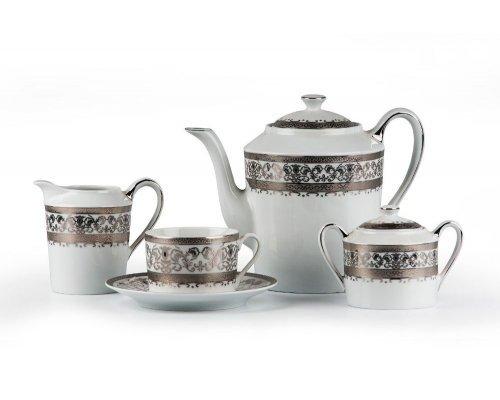 Tunisie Porcelaine Mimosa Prague Platine 1647 чайный сервиз на 6 персон 15 предметов