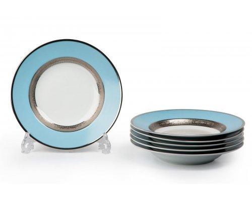 Tunisie Porcelaine Mimosa Monaco Bleu Turquoise 1626 набор глубоких тарелок 27 см. на 6 персон