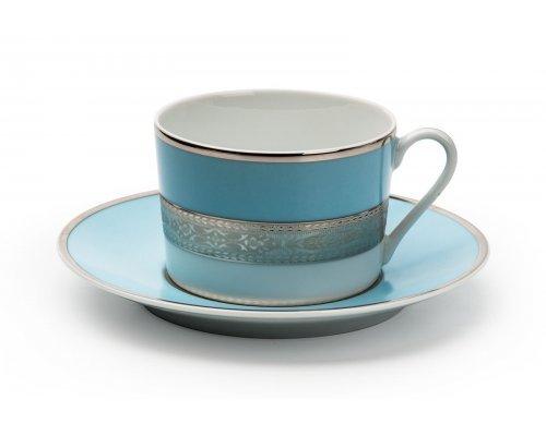 Tunisie Porcelaine Mimosa Monaco Bleu Turquoise 1626 набор чайных пар 220мл на 6 персон