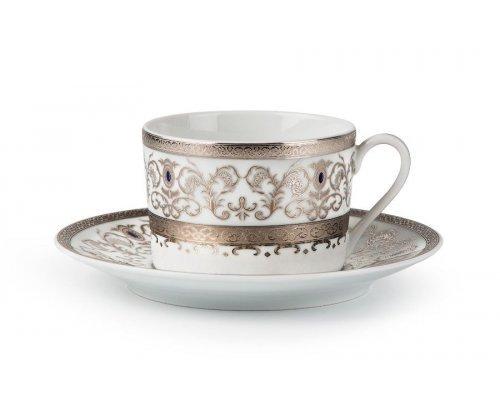 Tunisie Porcelaine Mimosa Prague Platine 1647 набор чайных пар 220 мл. на 6 персон