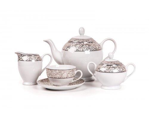 Tunisie Porcelaine Isis Orient Platine 1672 чайный сервиз на 6 персон 15 предметов