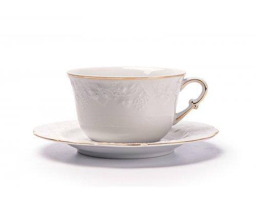 Tunisie Porcelaine Vendange Filet Or Чашка для завтрака с блюдцем 340 мл
