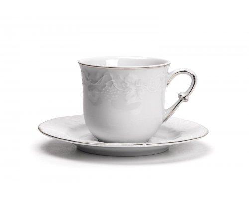 Tunisie Porcelaine Vendange Filet Platine Набор чайных пар 200 мл на 6 персон 12 предметов