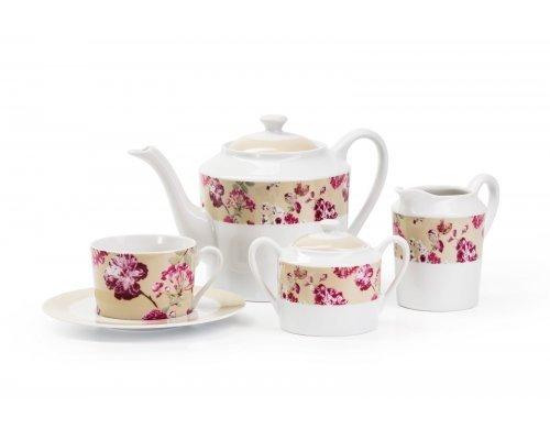 Сервиз чайный на 6 персон 15 предметов Tunisie Porcelaine Mimosa Liberty 2150