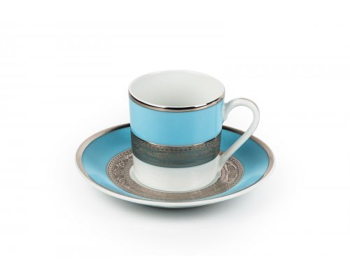 Tunisie Porcelaine Mimosa Monaco Bleu Turquoise 1626 набор кофейных пар на 6 персон