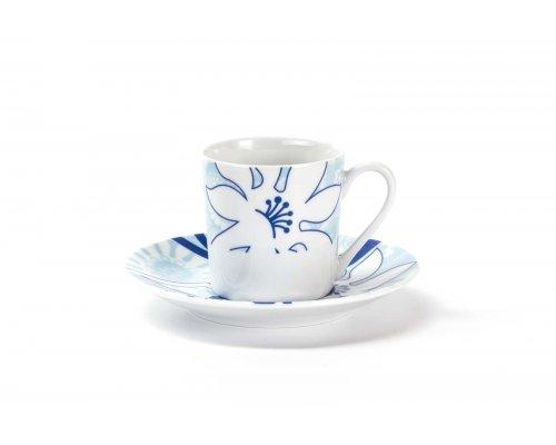 Набор кофейных пар Mimosa Bleu Sky 2230 Tunisie Porcelaine 110 мл на 6 персон 12 предметов