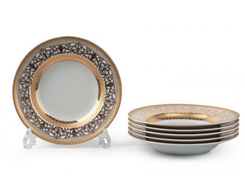Tunisie Porcelaine Mimosa Didon Or 1645 набор тарелок глубоких 27см. на 6 персон