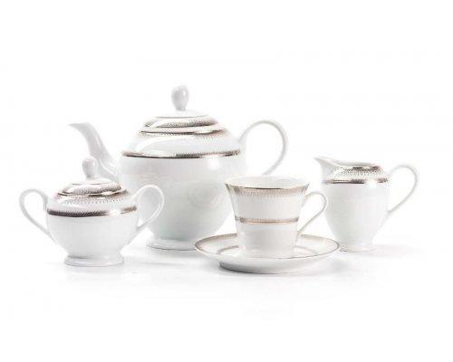 Сервиз чайный на 6 персон 15 предметов Tunisie Porcelaine Princier Platin 1801