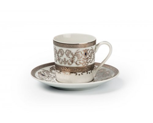 Tunisie Porcelaine Mimosa Prague Platine 1647 набор кофейных пар на 6 персон
