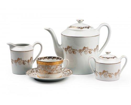 Tunisie Porcelaine Mimosa Lierre Or 947 чайный сервиз на 6 персон 15 предметов