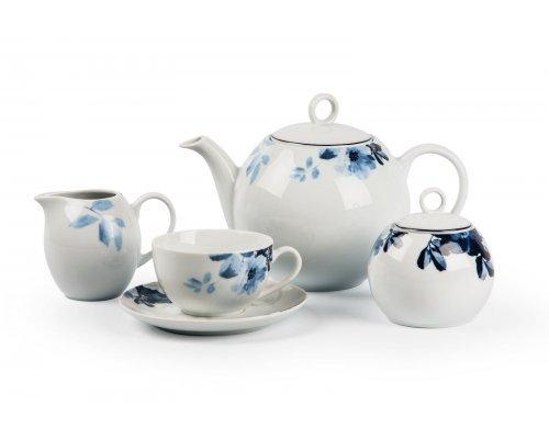 Tunisie Porcelaine Monalisa Jardin Bleu 1780 чайный сервиз на 6 персон 15 предметов