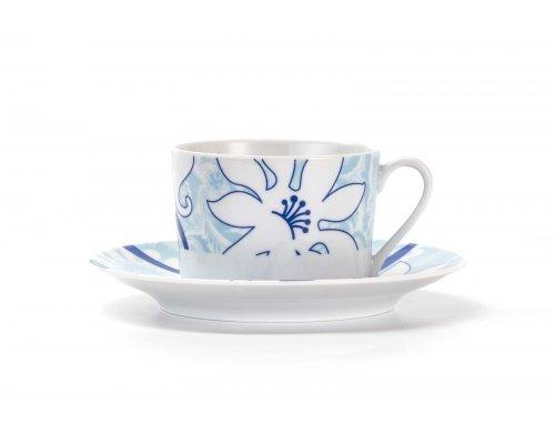Набор чайных пар 220мг на 6 персон 12 предметов Tunisie Porcelaine Mimosa Bleu Sky 2230