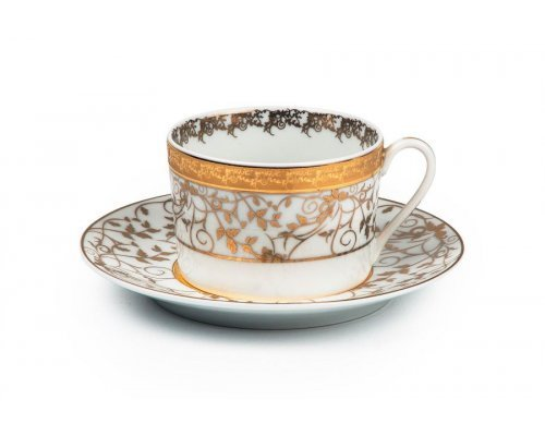 Tunisie Porcelaine Mimosa Lierre Or 947 набор чайных пар на 6 персон