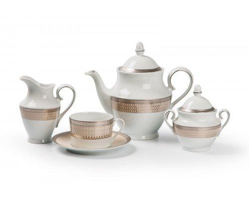 Tunisie Porcelaine Tanit Victoir Platine 1489 чайный сервиз на 6 персон 15 предметов