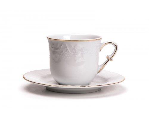 Tunisie Porcelaine Vendange Filet Or Набор чайных пар 200 мл на 6 персон 12 предметов