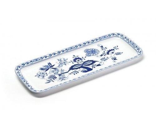 Блюдо для кекса прямоугольное 37,7 х 15,5см Tunisie Porcelaine Синий Лук 1313