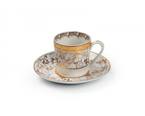 Tunisie Porcelaine Mimosa Lierre Or 947 набор кофейных пар на 6 персон